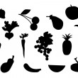 Royalty-Free Stock Obraz wektorowy: Set of fruit and vegetable silhouette