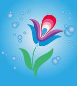 Blue mystic flower — Stock Vector