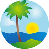 Summer palm island vector scene — Stock Vector