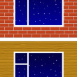 Window with night stars on wall — Stock Vector