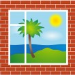 Royalty-Free Stock Vector Image: Window view with palm