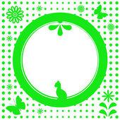 Grön naturliga blomma rund ram — Stockvektor