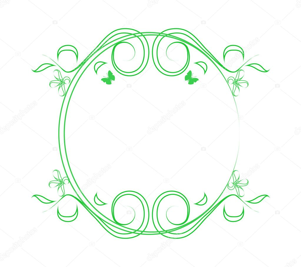 Green frame with flowers  Stock Vector #3849733