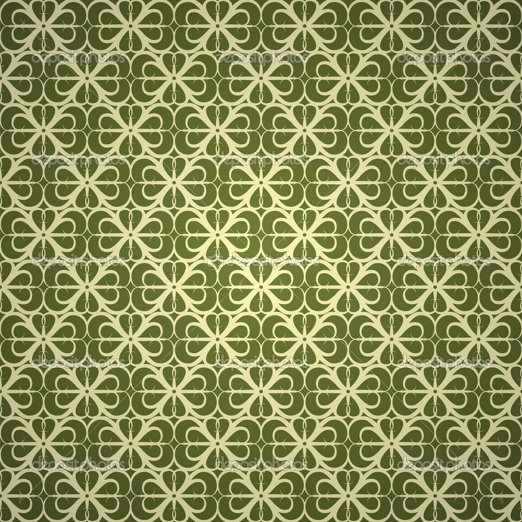 Seamless green ornament wallpaper  Imagens vectoriais em stock #3854996