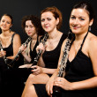 Beautiful clarinetists quartet - Stock Photo