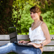 Stock Photo: Beautiful girl using laptop