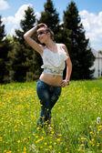 Teenager enjoying good weather — Stock Photo