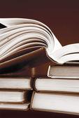 Books in sepia color — Stock Photo