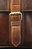 Buckle on leather briefcase — Stock Photo