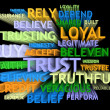 Stock Photo: 3d trail perspective TRUST's word-cloud