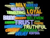 3d trail perspective TRUST's word-cloud — Foto Stock