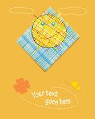 Illustrazione vettoriale. sullo sfondo. postale con applique. — Vettoriale Stock