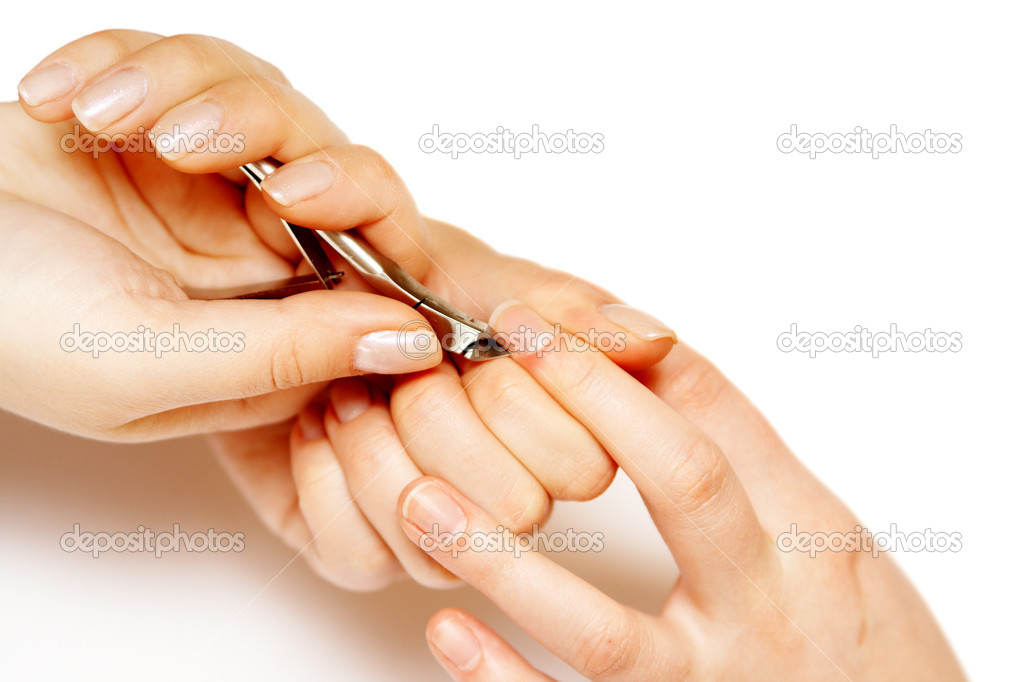 Studio nail - beautician polishing nails — Stock Photo #2771367