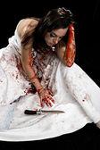 带刀的女人 — 图库照片