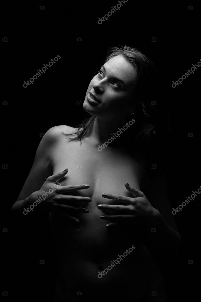 Cute woman on black background — Stock Photo #2996469