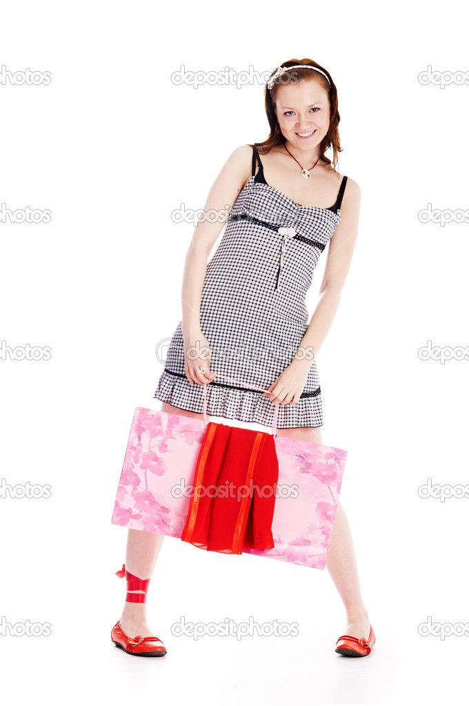 Woman with bag on white background — Stock Photo #2996812