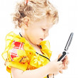 Girl with telephone - Stock Photo