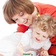 Ma and daughter draw — Stock Photo