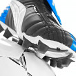 Soccer footwear and ball - Stock fotografie