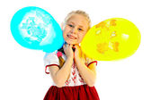 Girlie with balloon — Stock Photo