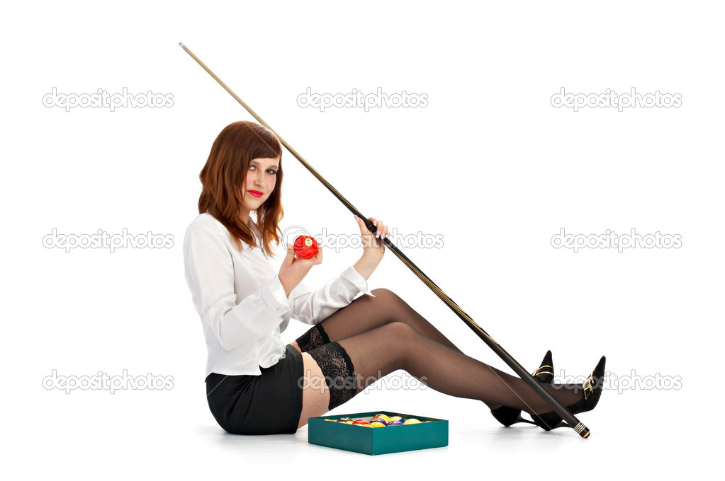 Woman with cue and billiard ball isolated on white background — Stock Photo #3145397