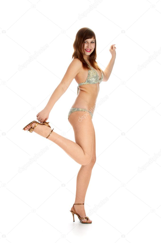 Merry brunette in bikini on white background — Stock Photo #3145769