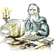 Stock Photo: Ancient writer behind computer