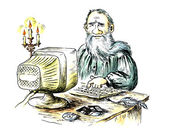 Ancient writer behind the computer — Stockfoto