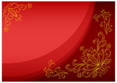 Gold lotus on a scarlet background — Stock Photo