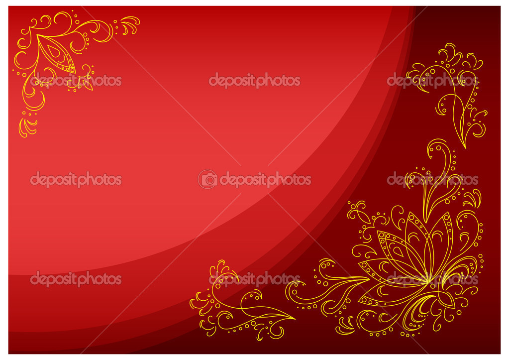 Abstract pattern: leaves, stalks and lotus flowers on a scarlet background — Stock Photo #2696125