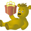 Bear with a gift box — Stock Photo