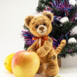 Стоковое фото: Tiger with apple under fur-tree