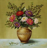 Asters in a clay amphora — Stock Photo