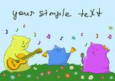 Cartão. família musical — Vetorial Stock