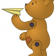 Bear with paper plane — Stock Photo