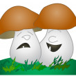 Cheerful mushroom, sad mushroom — Stock Photo