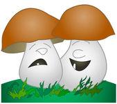 Cheerful mushroom, sad mushroom — Stock Photo