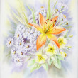 Water-colour, summer bouquet with a lily — Stock Photo