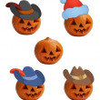 Pumpkins in caps — Stock Photo