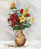 Bouquet in jug — Stock Photo
