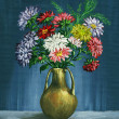 Bouquet of asters in a clay vase - Foto Stock