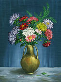 Bouquet of asters in a clay vase — Stock Photo
