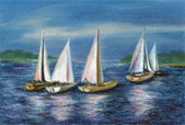 Pastel: yachts by the Obsky sea — Stock Photo