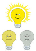 Set of electric bulbs, bright on — Stock Vector