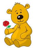 Teddy bear with a rose flower — Stock Vector