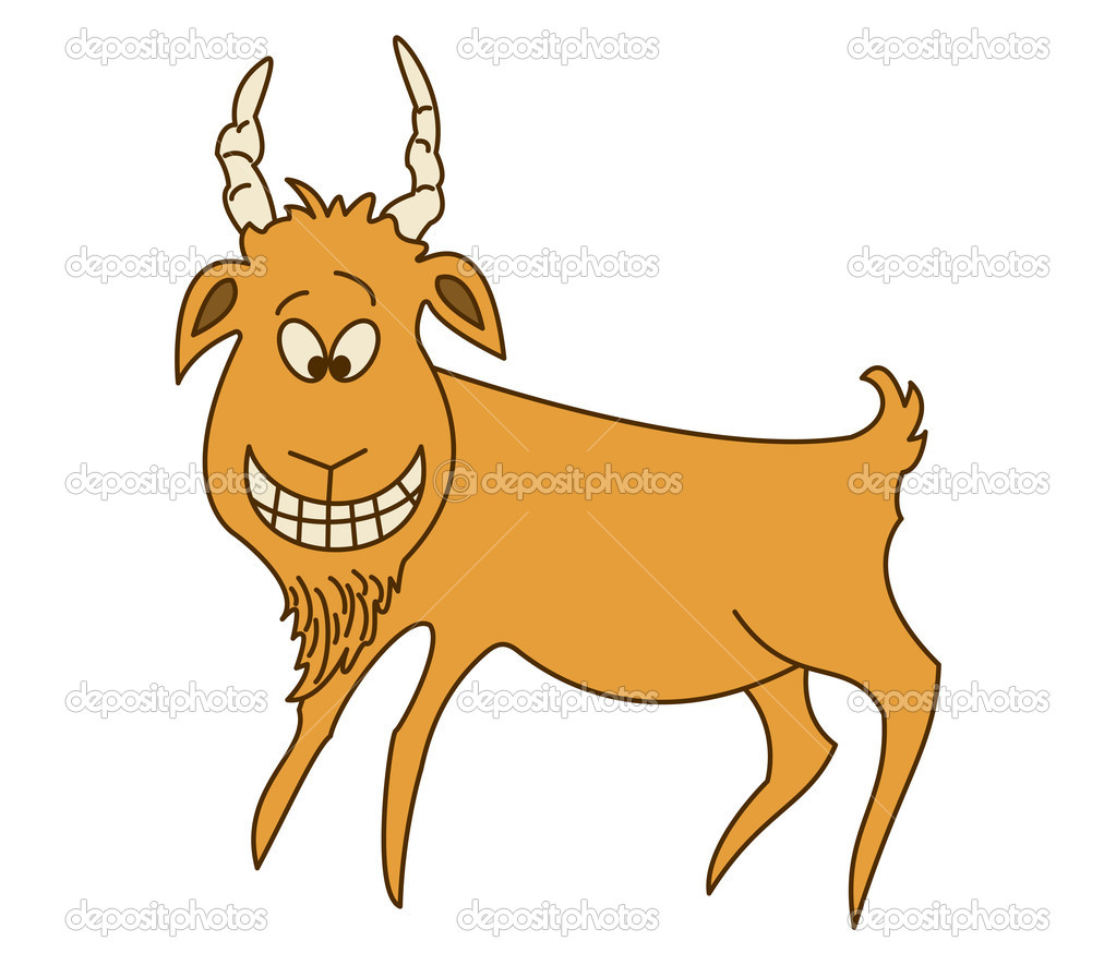 Rock painting of the ancient artist: the cheerful goat grins in a wide smile — Stock Vector #3527626