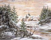 The Siberian winter lake — Stock Photo