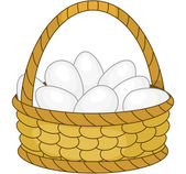 Basket with white eggs — Stock Vector