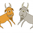 Two goats: cheerful and sad — Stock Vector
