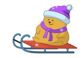 Teddy-bear on sledge — Stock Vector